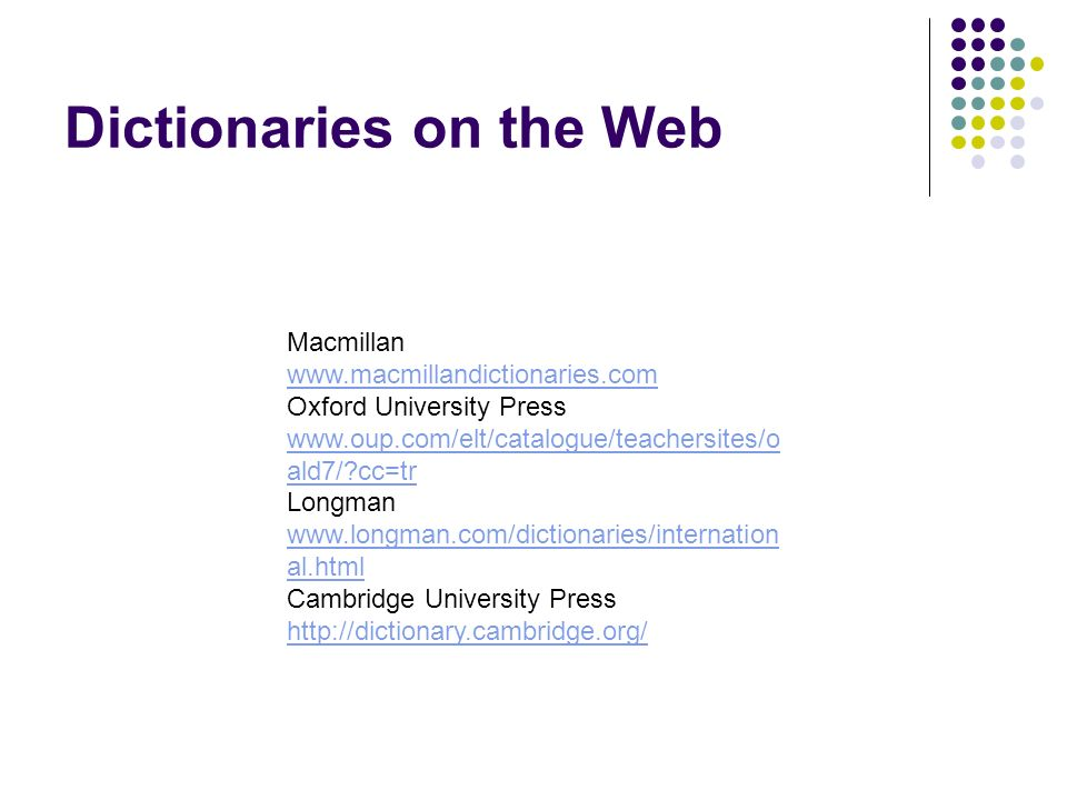 Dictionaries on the Web