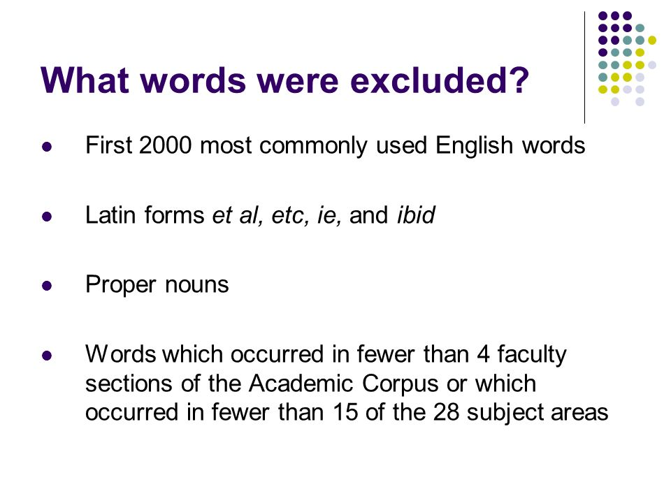 What words were excluded