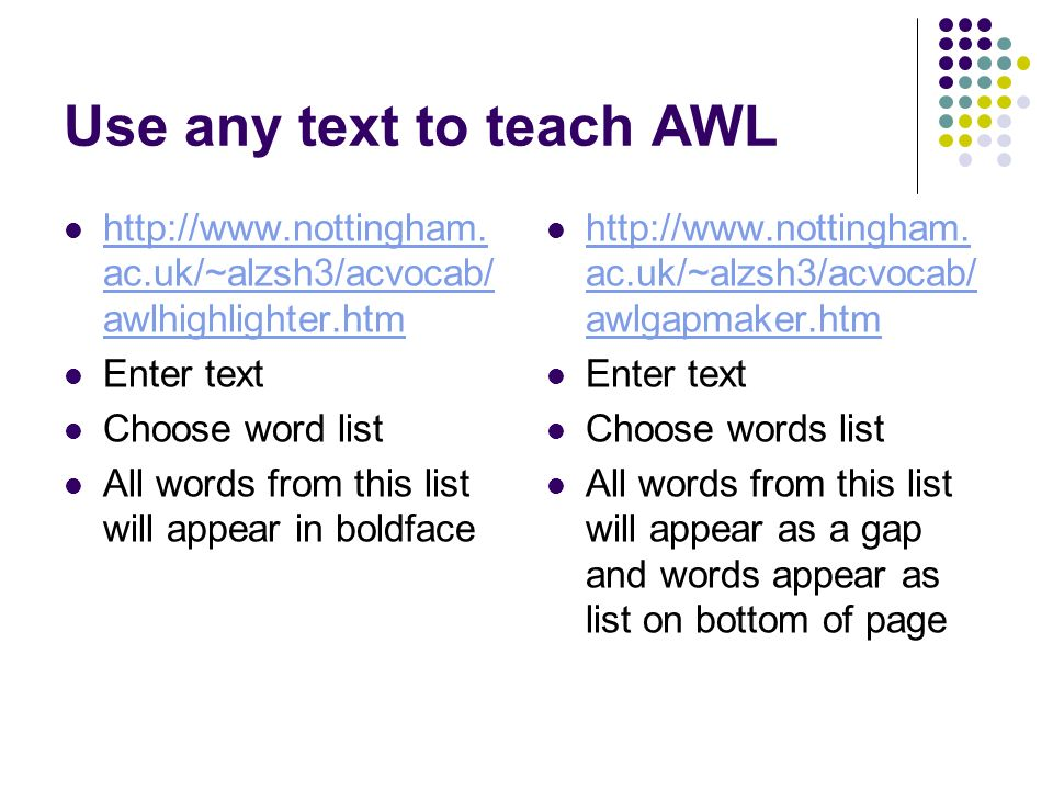 Use any text to teach AWL