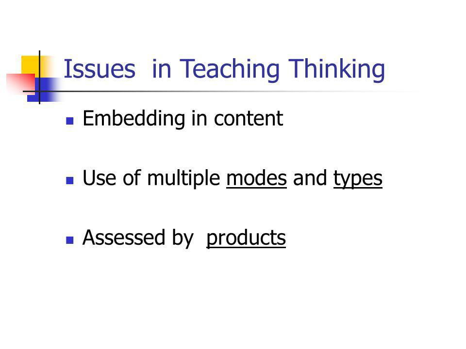 Issues in Teaching Thinking