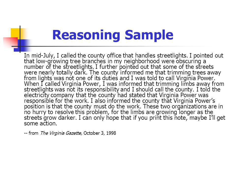 Reasoning Sample