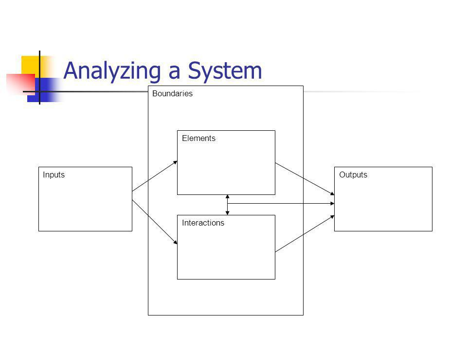 Analyzing a System Boundaries Elements Inputs Outputs Interactions