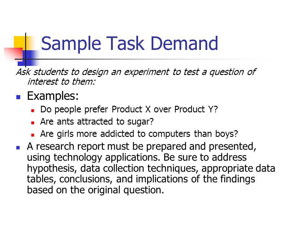Sample Task Demand Examples: