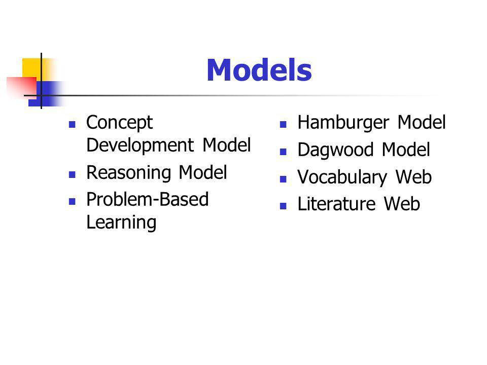 Models Concept Development Model Reasoning Model