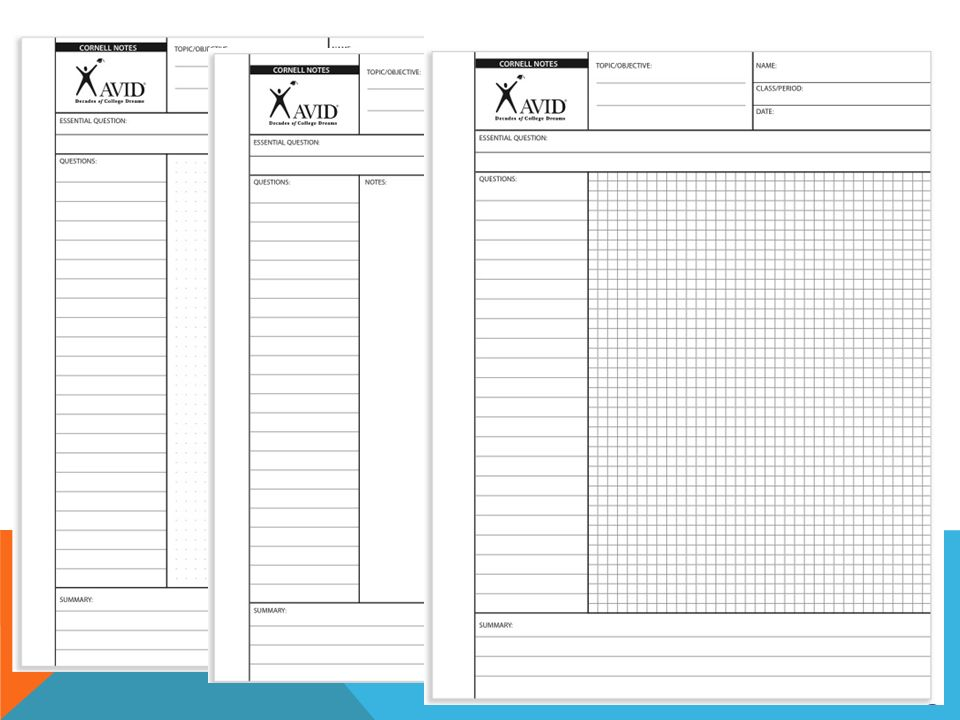 Cornell Notes Paper Avid Cornell Note Sample Cornell Note