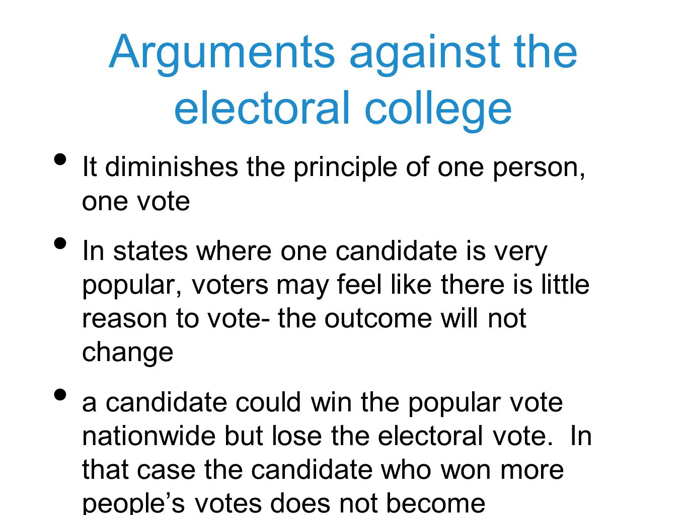 reasons for electoral college The official us electoral college web view the electoral 3 electors and treated like a state for purposes of the electoral college for this reason.