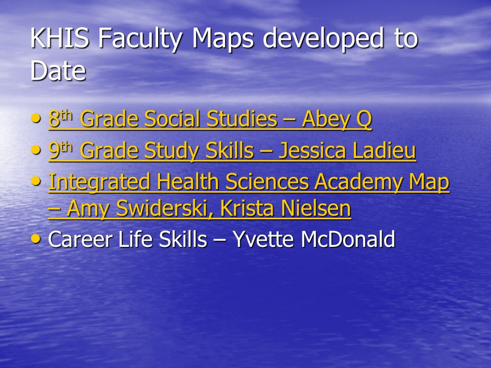 KHIS Faculty Maps developed to Date