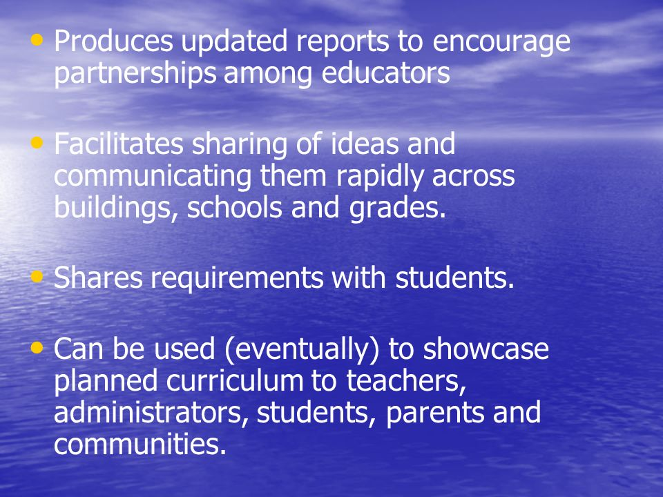 Produces updated reports to encourage partnerships among educators