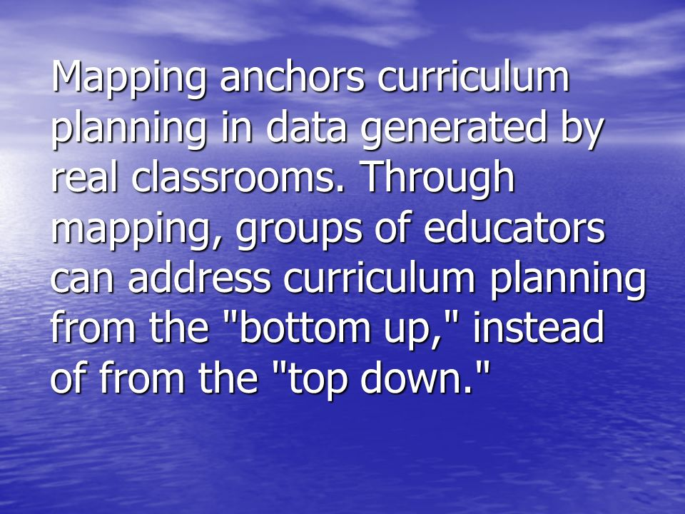 Mapping anchors curriculum planning in data generated by real classrooms.