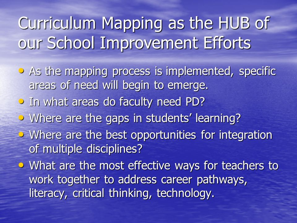 Curriculum Mapping as the HUB of our School Improvement Efforts