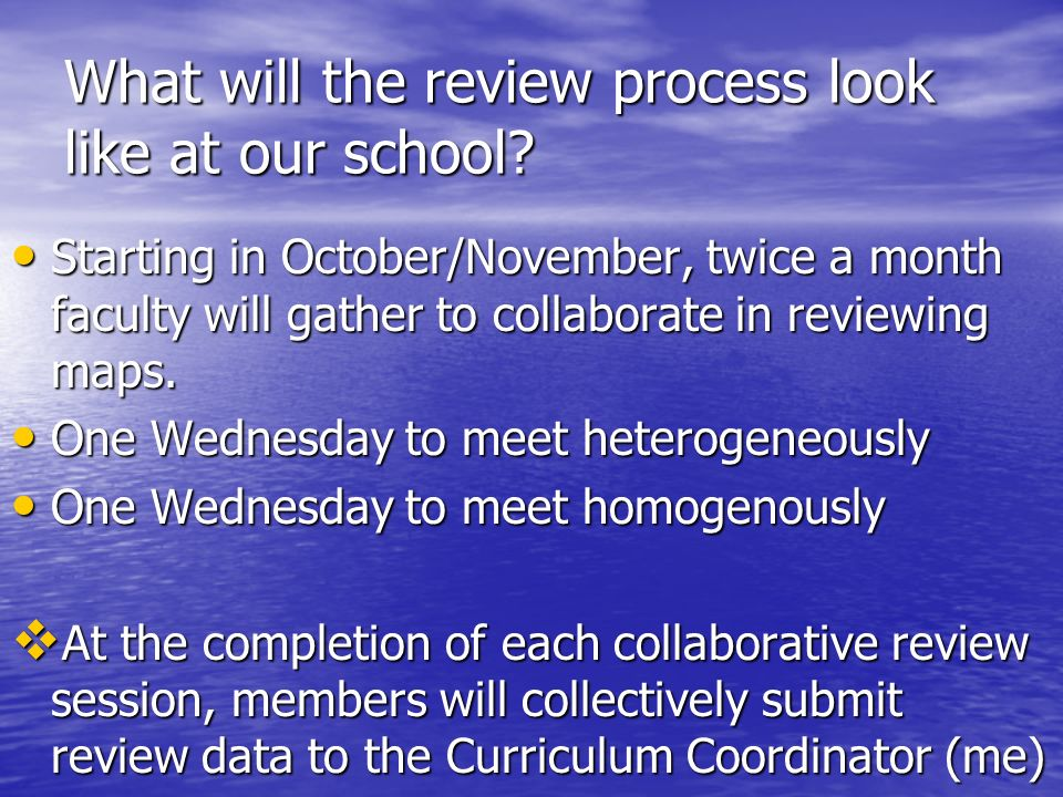 What will the review process look like at our school
