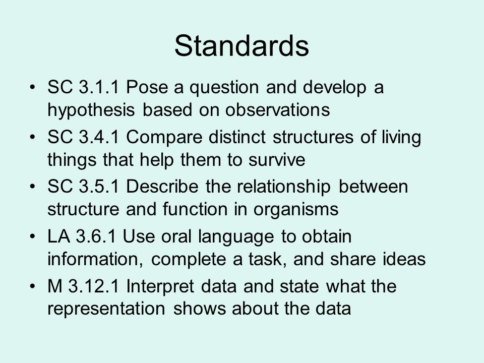 Standards SC 3.1.1 Pose a question and develop a hypothesis based on observations.