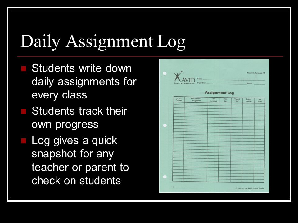 Daily Assignment Log Students write down daily assignments for every class. Students track their own progress.