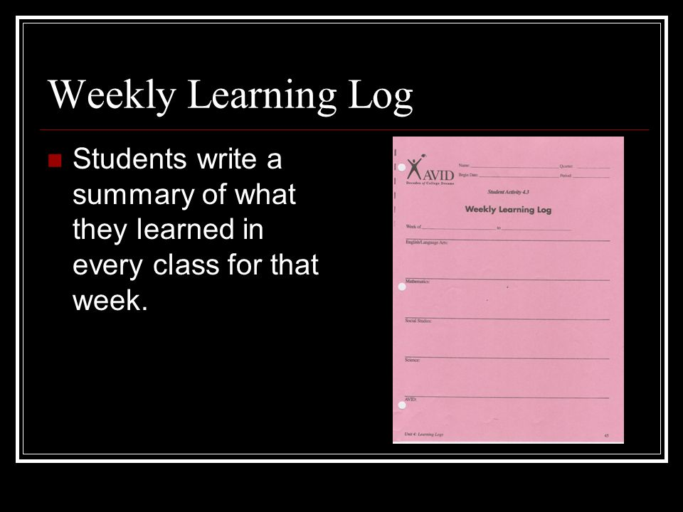 Weekly Learning Log Students write a summary of what they learned in every class for that week.