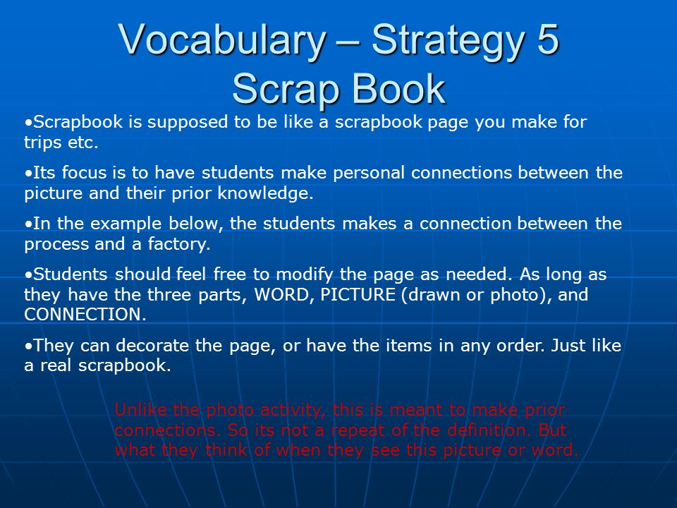 Vocabulary – Strategy 5 Scrap Book