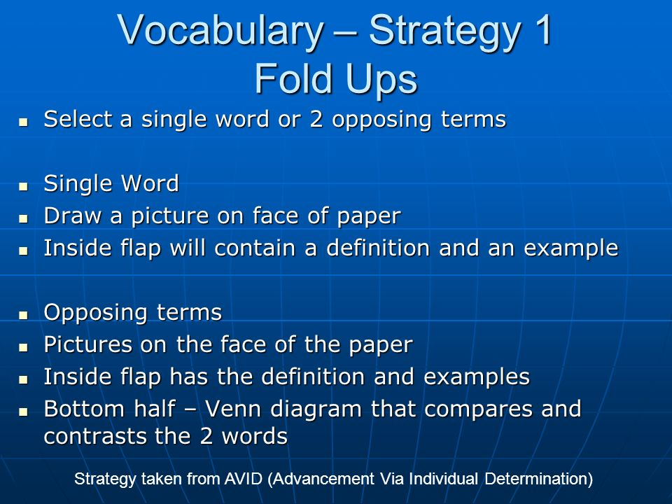Vocabulary – Strategy 1 Fold Ups