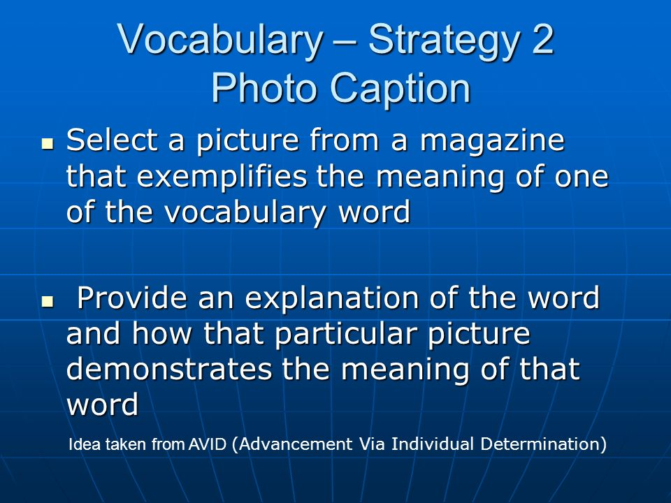 Vocabulary – Strategy 2 Photo Caption