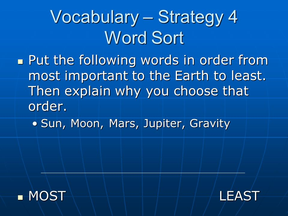 Vocabulary – Strategy 4 Word Sort
