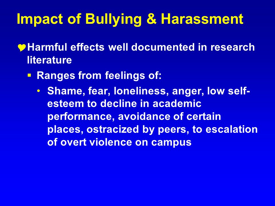 Impact of Bullying & Harassment