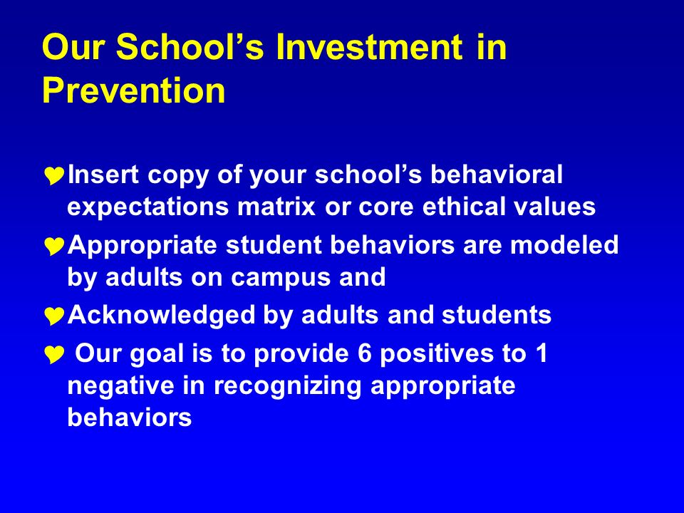 Our School's Investment in Prevention