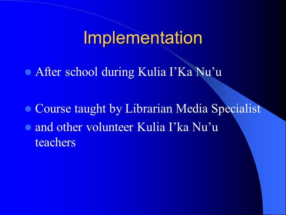Implementation After school during Kulia I'Ka Nu'u