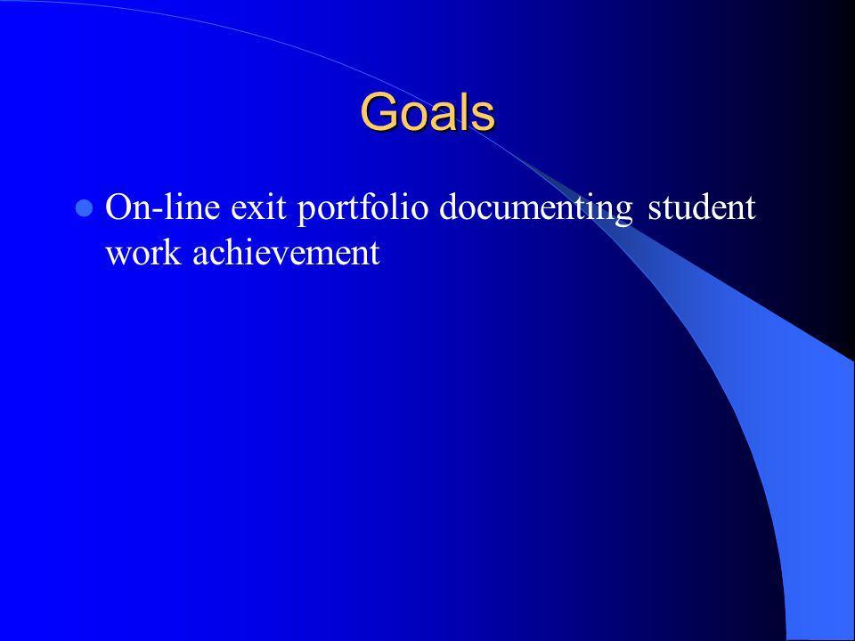 Goals On-line exit portfolio documenting student work achievement