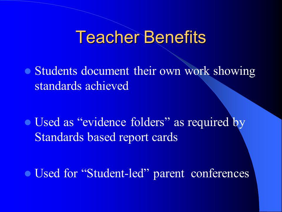 Teacher Benefits Students document their own work showing standards achieved. Used as evidence folders as required by Standards based report cards.
