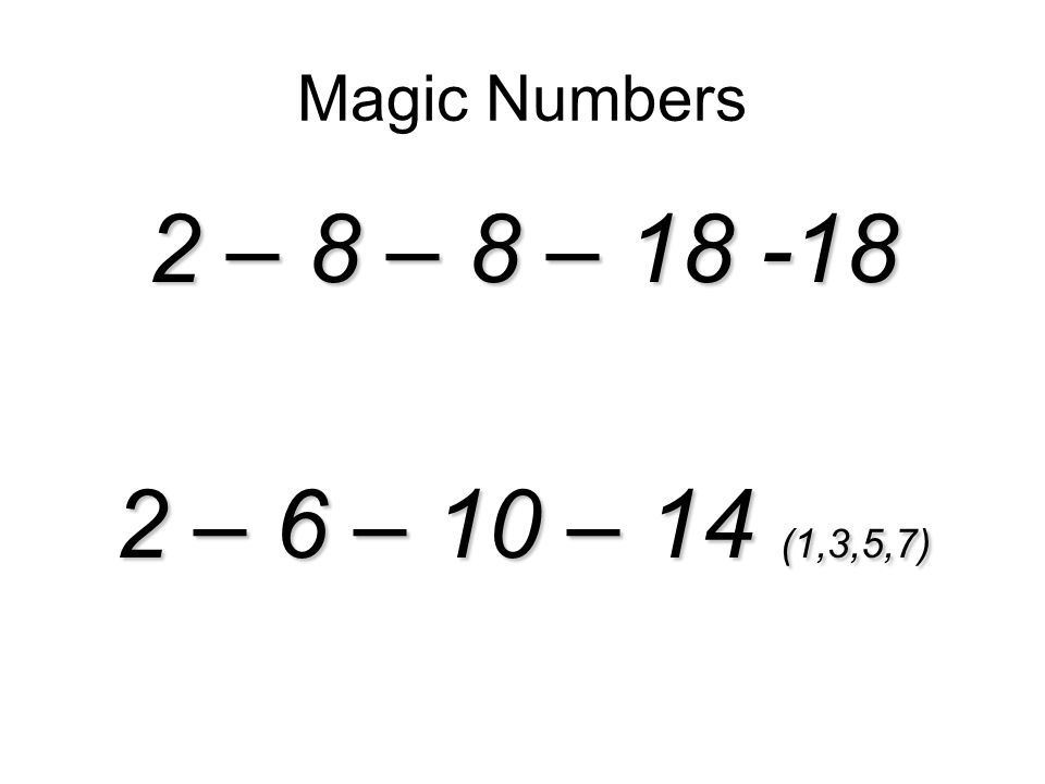 Magic Numbers 2 – 8 – 8 – – 6 – 10 – 14 (1,3,5,7)