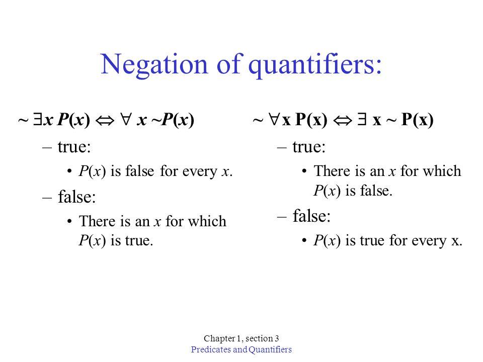 Negation of quantifiers: