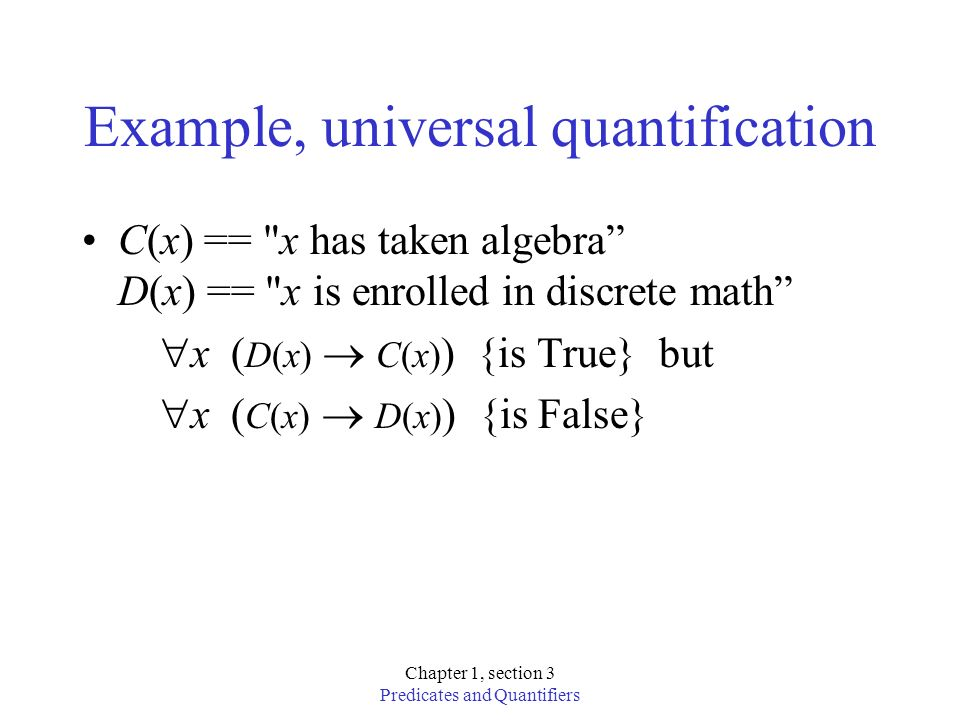 Example, universal quantification