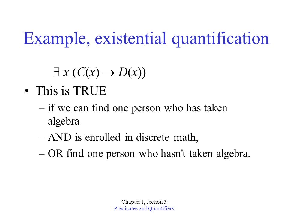 Example, existential quantification