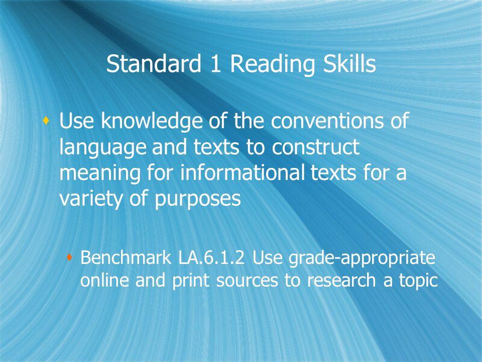 Standard 1 Reading Skills