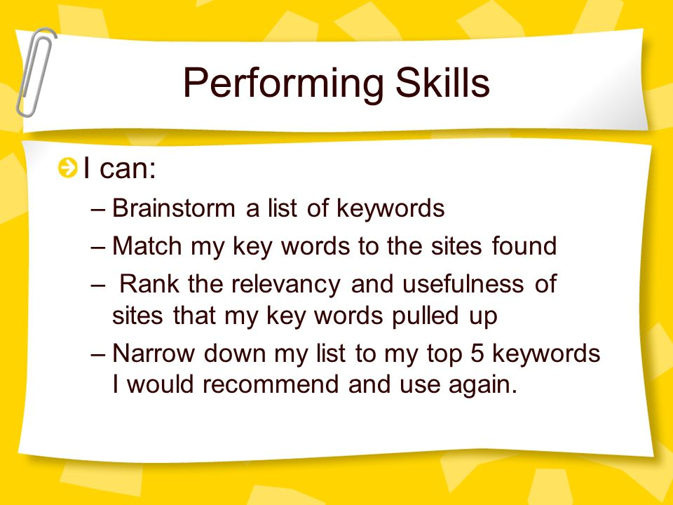 Performing Skills I can: Brainstorm a list of keywords