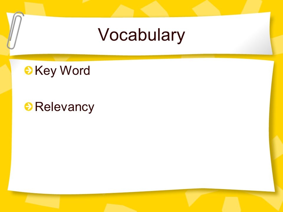 Vocabulary Key Word Relevancy