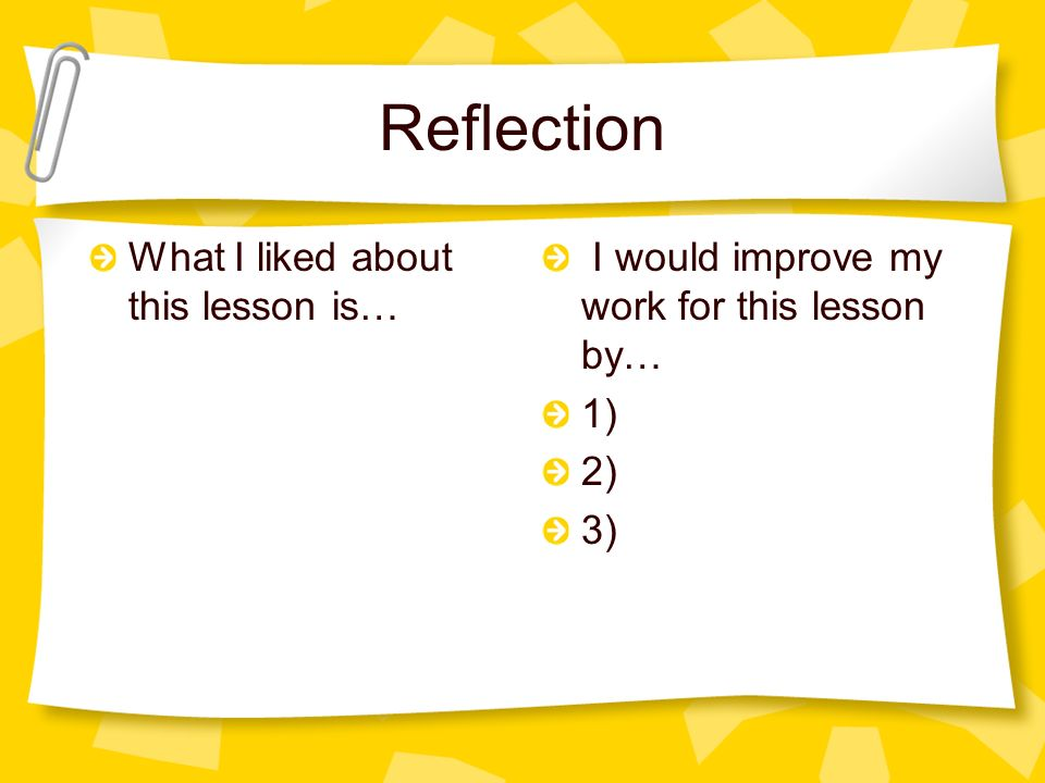 Reflection What I liked about this lesson is…