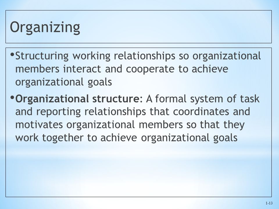 Organizing Structuring working relationships so organizational members interact and cooperate to achieve organizational goals.