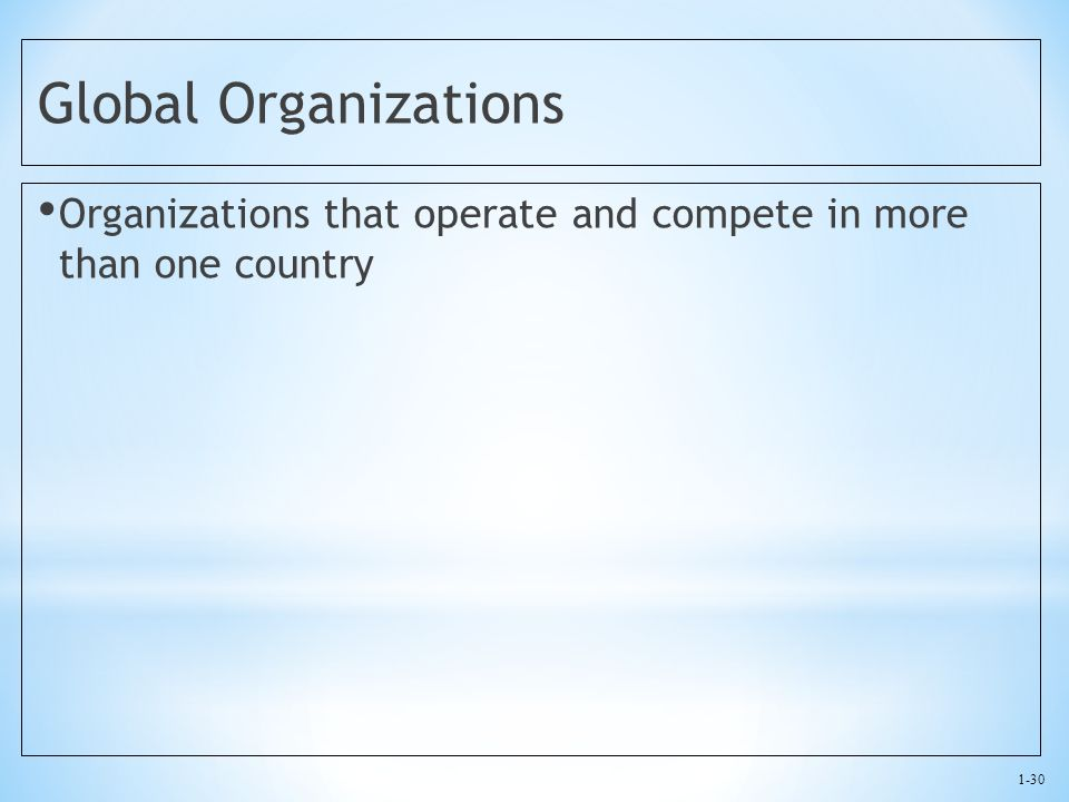 Global Organizations Organizations that operate and compete in more than one country