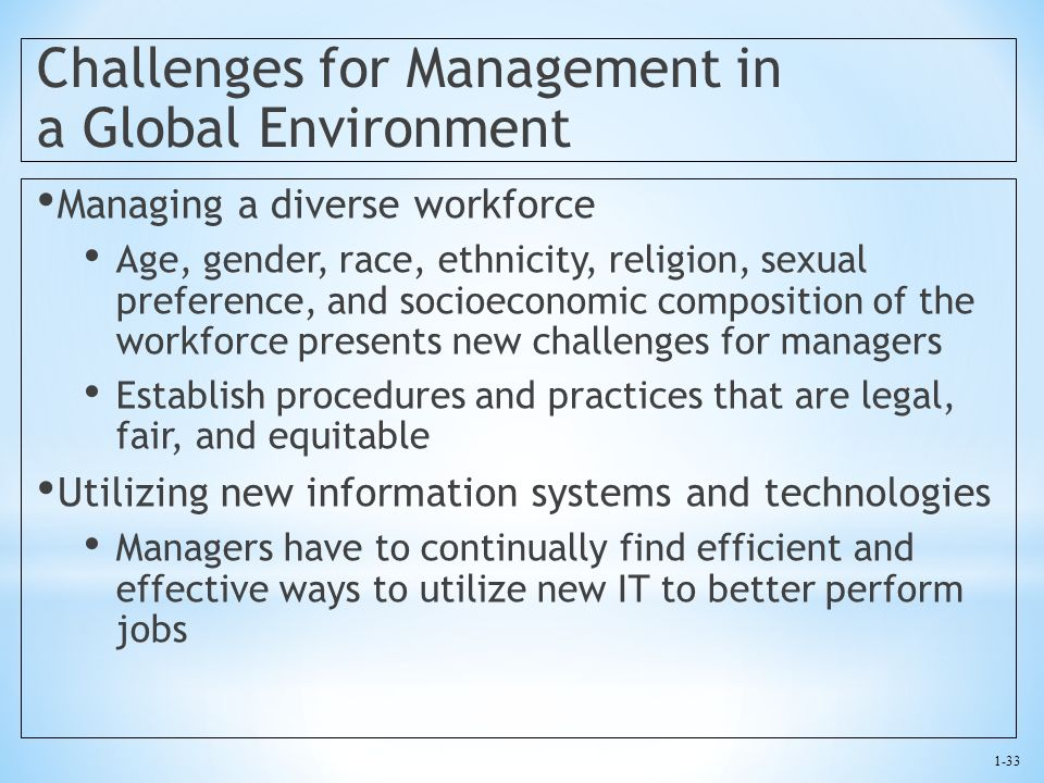 Challenges for Management in a Global Environment
