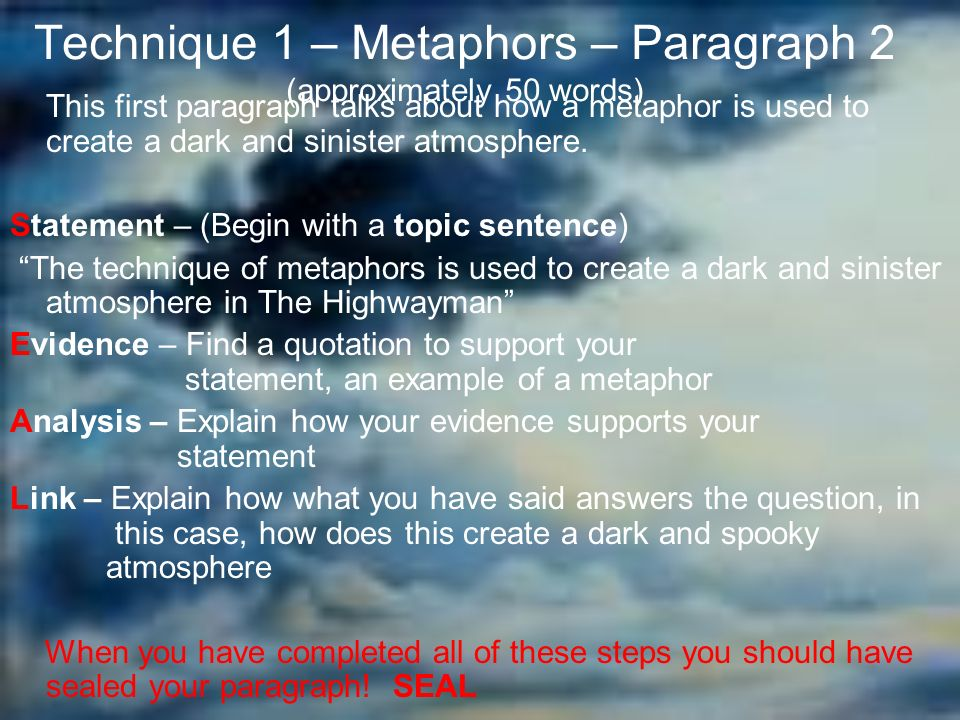 the highwayman essay plan ppt video online  4 technique