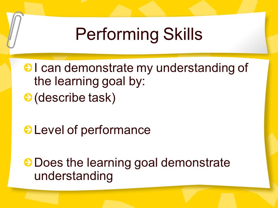Performing Skills I can demonstrate my understanding of the learning goal by: (describe task) Level of performance.
