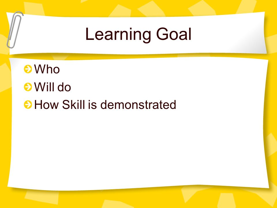 Learning Goal Who Will do How Skill is demonstrated