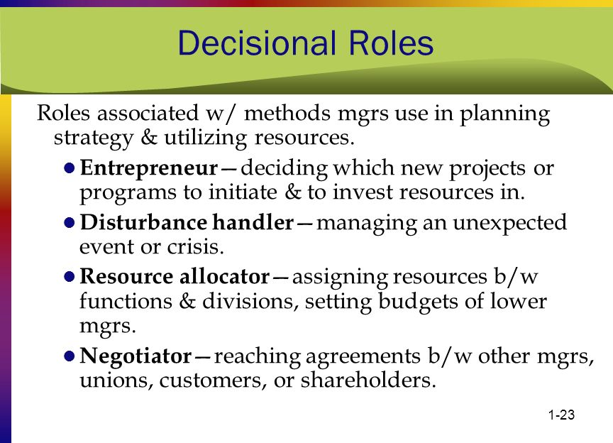 Decisional Roles Roles associated w/ methods mgrs use in planning strategy & utilizing resources.