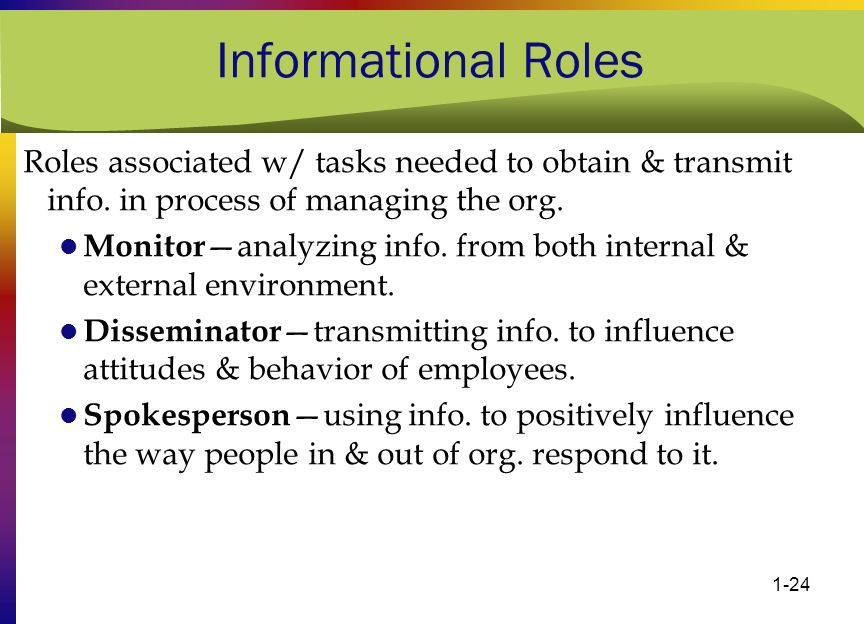 Informational Roles Roles associated w/ tasks needed to obtain & transmit info. in process of managing the org.