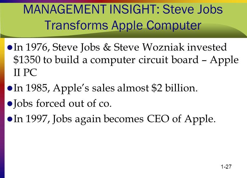 MANAGEMENT INSIGHT: Steve Jobs Transforms Apple Computer