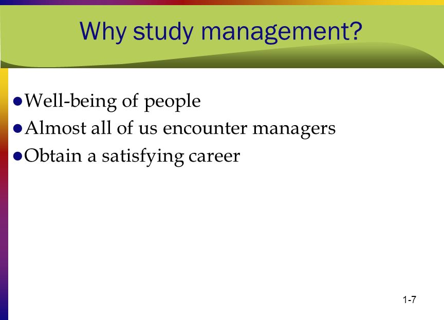 Why study management Well-being of people