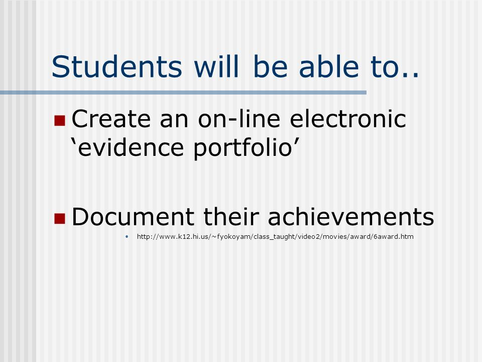 Students will be able to..