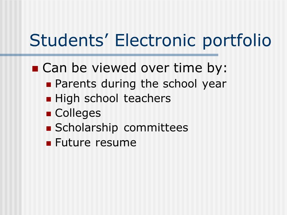 Students' Electronic portfolio