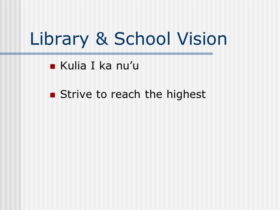 Library & School Vision