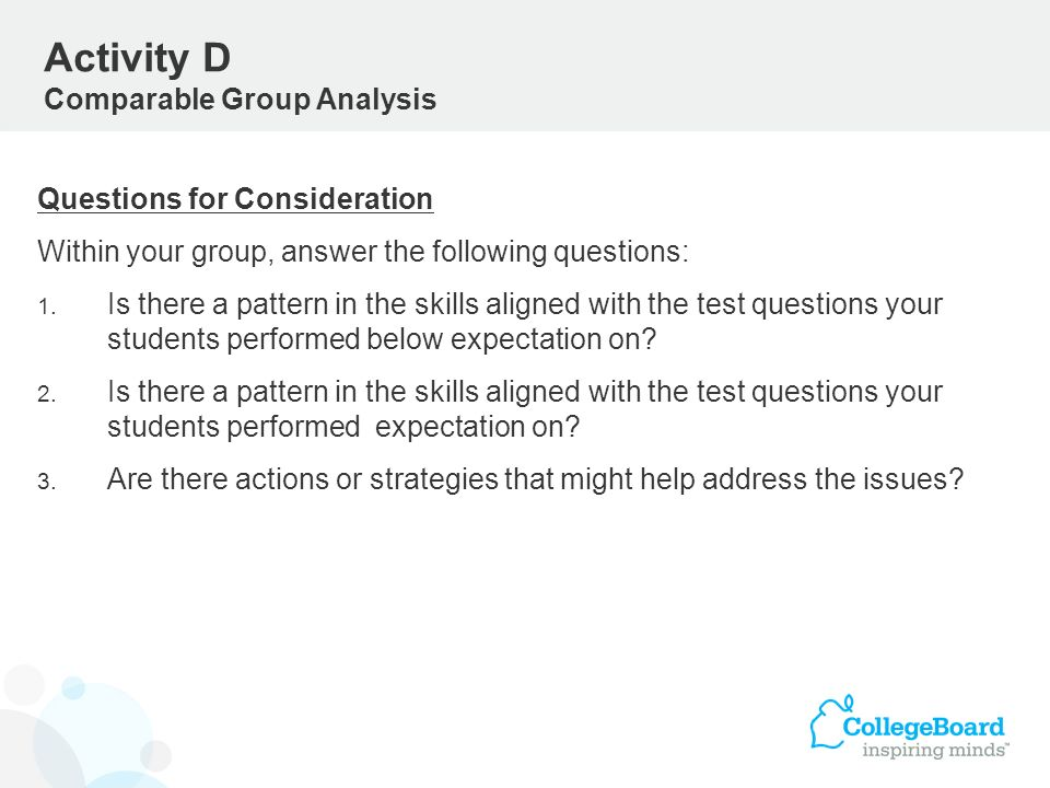 Activity D Comparable Group Analysis