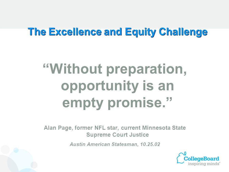 The Excellence and Equity Challenge